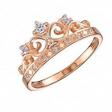 Кольцо в красном золоте Моя принцесса с фианитами
