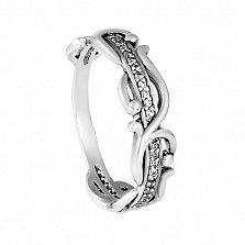 Серебряное кольцо Весенние побеги с фианитами