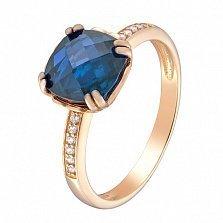 Золотое кольцо Аделаида с темно-голубым топазом и фианитами