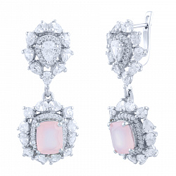 Серебряные серьги-подвески Елизавета с розовым кварцем и фианитами 000066038