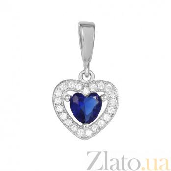 Серебряный подвес Love you с синим и белыми фианитами 000028853