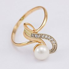 Золотое кольцо Леонсия с жемчугом и фианитами