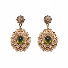 Золотые серьги с бриллиантами и лимонными топазами Triumph