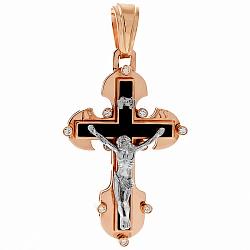 Золотой крест с агатом и цирконием Высшие силы 000033652