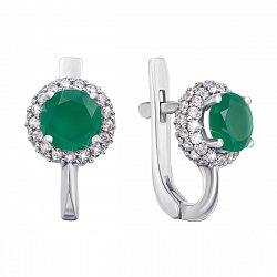 Серебряные серьги с зеленым агатом и фианитами 000133192