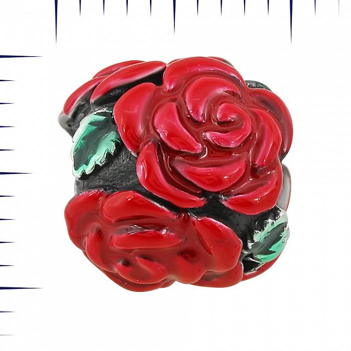 Серебряный шарм Алые розы с красной и зеленой эмалью 000081704