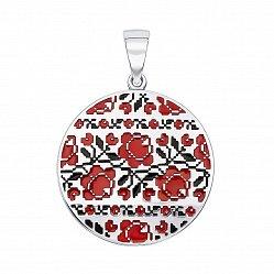 Серебряный кулон с черной и красной эмалью 000133730