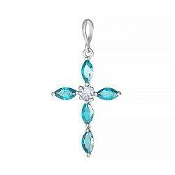Серебряный крестик Версаль с голубыми фианитами 000028620