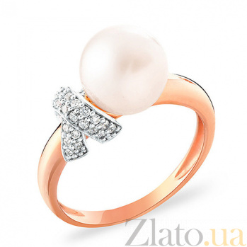Золотое кольцо с жемчужиной и фианитами Маньяра SUF--153219