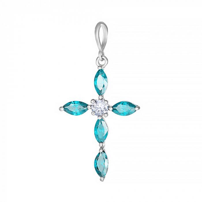 Серебряный крестик Версаль с голубыми фианитами 000028620 000028620