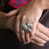 Серебряное кольцо Голубь Мира Сатин с надписью Вера, Надежда, Любовь на латыни