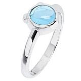 Золотое кольцо Мишутка с голубым топазом