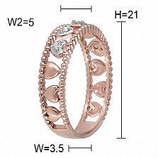 Кольцо Симпатия из красного золота с бриллиантами
