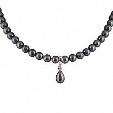 Ожерелье из черного жемчуга Тристесса с фианитом в серебряной вставке