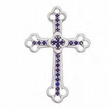 Крестик в белом золоте Поклонение с сапфиром