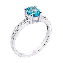Серебряное кольцо с голубым топазом и фианитами 000132143