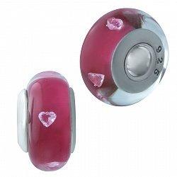 Серебряный шарм Лавиния с розовым муранским стеклом