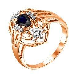 Золотое кольцо в красном цвете с сапфиром и бриллиантами 000021194