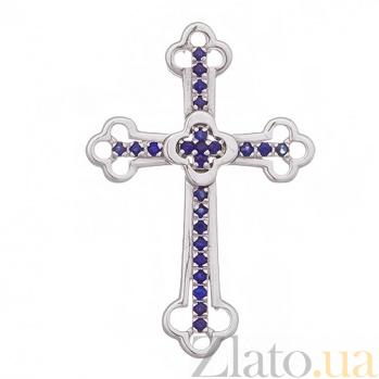 Крестик в белом золоте Поклонение с сапфиром SVA--3101291202/Сапфир