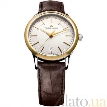 Часы Maurice Lacroix на коричневом кожаном ремешке коллекции Les Classiques Gents date MLX--LC1117-PVY11-130
