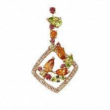 Кулон из красного золота Весеннее чудо с цитрином, гранатом, хризолитом и бриллиантами