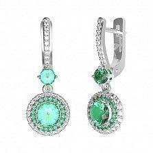 Серебряные серьги Летисия с зеленым кварцем и фианитами