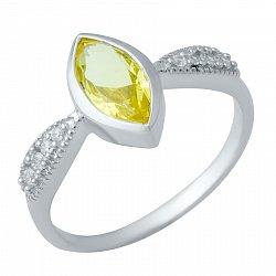 Серебряное кольцо с цитрином и фианитами 000074799