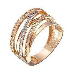 Кольцо в красном золоте с фианитами 000067810
