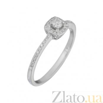 Золотое кольцо в белом цвете с бриллиантами Душевная радость 000032304