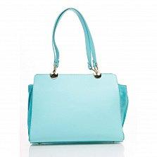 Деловая сумка из кожи и замши Genuine Leather 8939 бирюзового цвета на молнии, с нашивным карманом