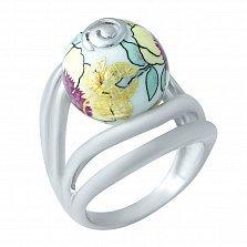 Серебряное кольцо Сакура с цветной эмалью