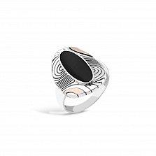 Серебряное кольцо Франческа с чернением, узорами, золотыми накладками и имитацией оникса