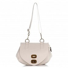 Кожаная сумка на каждый день Genuine Leather 8618 бежевого цвета с клапаном на механическом замке