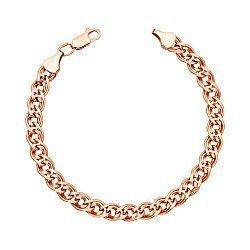 Браслет из красного золота в плетении Нонна с алмазной гранью 000133253