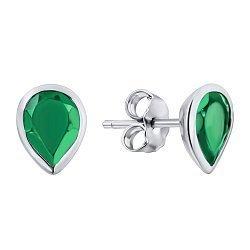 Серебряные серьги-пуссеты с зеленым агатом 000133610