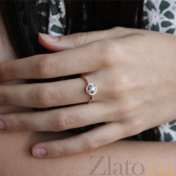 Кольцо из красного золота с фианитами Роза ветров TNG--330973