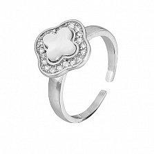 Фаланговое серебряное кольцо Луиза с перламутром и фианитами в стиле Луи Виттон