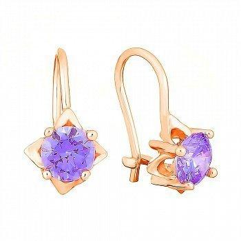 Позолочені сережки зі срібла з фіолетовими фіанітами  000031095
