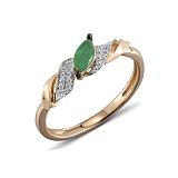 Кольцо из красного золота Джудит с бриллиантами и изумрудом
