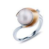 Серебряное кольцо Леонсия с жемчугом и золотой пластиной