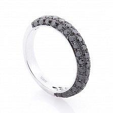 Золотое кольцо Циамия в белом цвете с черными бриллиантами