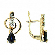 Золотые серьги с бриллиантами и сапфирами Виталия