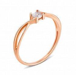 Золотое кольцо  в комбинированном цвете с бриллиантом 000136534