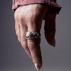 Кольцо из серебра Civilization с коньячным цирконием, золотыми вставками и чернением 000091458