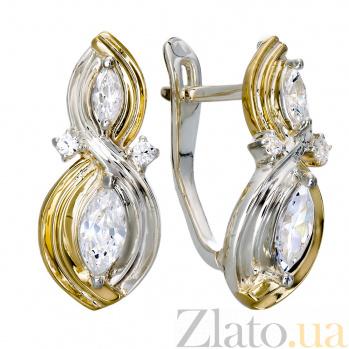 Серебряные серьги с золотыми вставками и цирконием Марлин 000030212