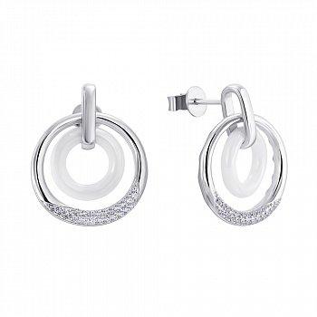 Серебряные серьги-пуссеты с керамикой и фианитами 000141162
