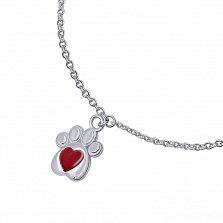 Серебряный браслет Лапка с сердцем с красной эмалью и подвесками,10х10 мм