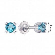 Серебряные серьги-пуссеты с голубыми топазами 000133197