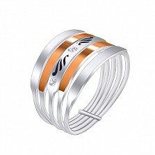 Серебряное подвижное кольцо Аризона с золотыми вставками и фианитами