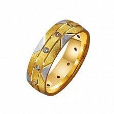 Золотое обручальное кольцо с фианитами Покахонтас